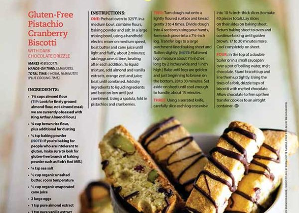 Gluten-Free Pistachio Biscotti recipe development food styling toronto stylist marianne wren Clean Eating Magazine