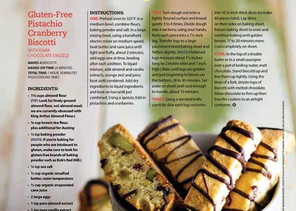 Gluten-Free Pistachio Biscotti recipe development food styling toronto stylist marianne wren Clean Eating Magazine