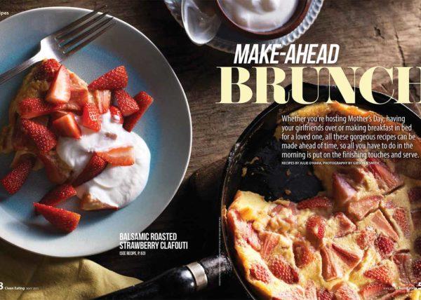 Make-Ahead Brunch strawberry clafoutis recipe food styling toronto stylist recipe development marianne wren clean eating magazine