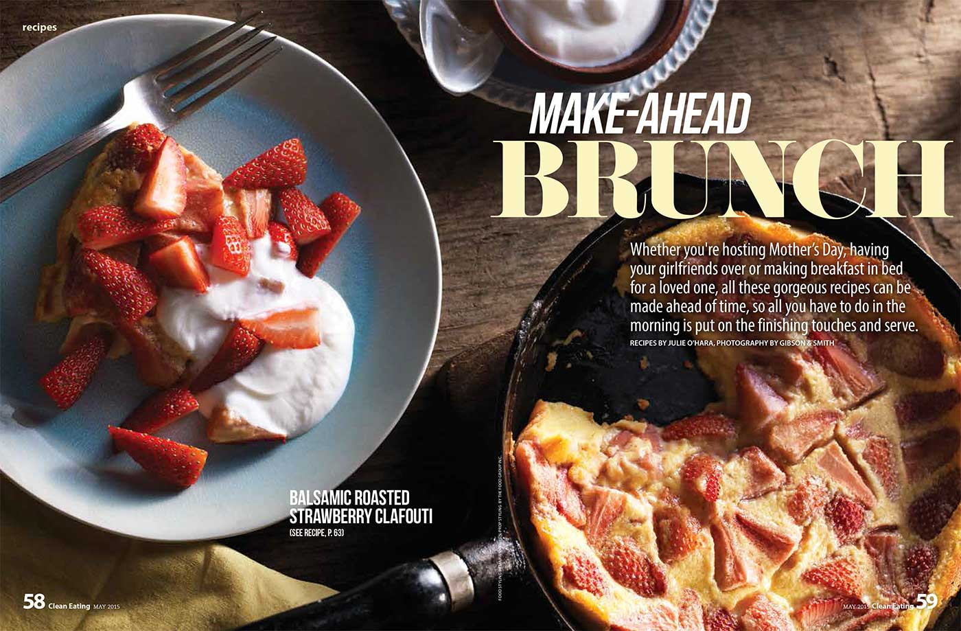Make-Ahead Brunch strawberry clafoutis recipe food styling toronto stylist recipe development marianne wren clean eating magazine