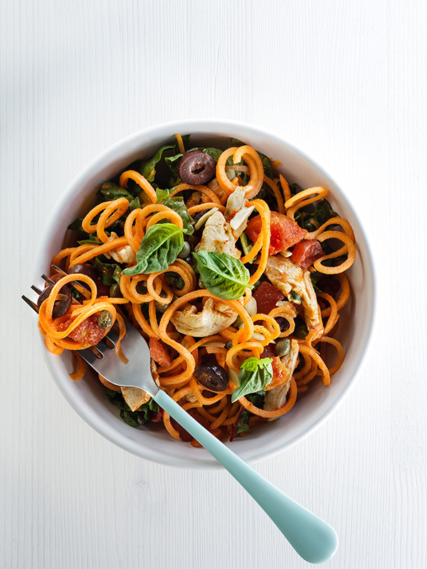 Spiralized Pasta food styling toronto stylist marianne wren Clean Eating Magazine