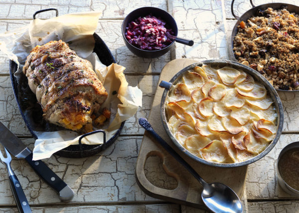 Pork Loin Roast With Scalloped Potatoes styled by Toronto food stylist and recipe developer Marianne Wren
