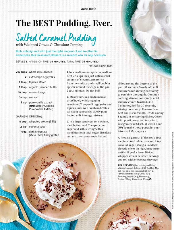 Salted Caramel Pudding Recipe written by Toronto food stylist and recipe developer Marianne Wren