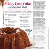 Sticky Date Cake Recipe written by Toronto food stylist and recipe developer Marianne Wren